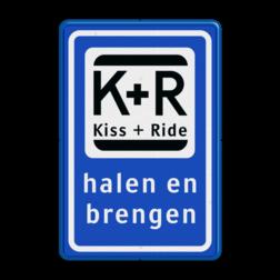 Verkeerbord Kort parkeergelegenheid ten behoeve van het afzetten en ophalen van iemand. Verkeerbord RVV L52 KISS & RIDE - halen en brengen L52 Kiss + Ride, alleen tijdens, schooluren, parkeerplaats, parkeerplek, kiss, ride , overstapplaats, overstappen,  zoen en zoef, L52b, L52e, L52