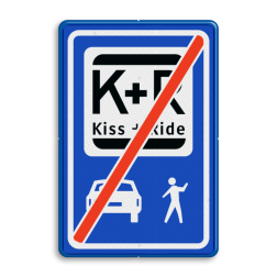 Informatiebord Einde zone voor parkeergelegenheid ten behoeve van het afzetten van iemand, Het zogenaamde zoen en zoef verkeersbord Informatiebord KISS & RIDE - pictogrammen - einde - L52e ZONE, Kiss + Ride, alleen tijdens, schooluren, parkeerplaats, parkeerplek, kiss, ride , overstapplaats, overstappen, E12,  zoen en zoef, L52b, L52e, L52