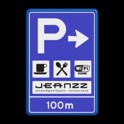 Verkeersbord RVV BW203 inclusief logo Informatiebord, parkeren, parkeerbord