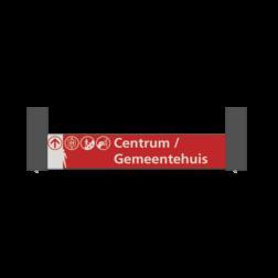 Verwijsbord VOETGANGERS RAL7016 1000x200 + reflex | Niveau -3 rood/wit | Montagestukken 80x80x400mm