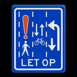 Verkeersbord Dit is een aanduiding dat je moet op passen bij links afslaan voor rechtdoorgaande fietsers en voetgangers van links en rechts op de kruising. Verkeersbord RVV VR10-14 VR10-14 verkeerslicht