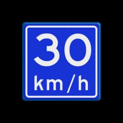 Verkeersbord Adviessnelheid is 30 km/h Verkeersbord RVV A04-vrij invoerbaar - Adviessnelheid A04-030 snelhiedsbord, snelheidbord, 30 km bord, snelheid, 30 kilometer per uur, adviessnelheid, a4, advies snelheid