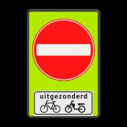 Verkeersbord Eenrichtingsweg, in deze richting gesloten voor voertuigen, ruiters en geleiders van rij- of trekdieren of vee. uitgezonderd fietsers en bromfietsers Verkeersbord RVV C02 - OB54 - Eenrichtingsweg met uitzondering - fluor achtergrond C02-OB54f Fluor geel-groen, C02, Onderbord OB 54 - uitgezonderd (brom)fietsers, Gesloten verklaring, Verboden in te rijden, eenrichting