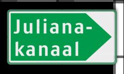 Scheepvaartbord Beslissingsaanduiding voor vaarweg of plaats. Dit teken (groen bord met witte tekst) verwijst naar een vaarweg of plaats en geeft tevens een richting aan. Scheepvaartbord BPR H. 2.1b - Beslissingsaanduiding voor vaarweg of plaats H. 2.1b Water, H2, H21, overige tekens, overige aanduidingen, waterweg, waterwegen, scheepvaarttekens, verkeerstekens