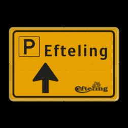 Verkeersbord WIU geel/zwart Efteling - Route Tekstbord, WIU bord, tijdelijke verkeersmaatregelen, werk langs de weg, omleidingsborden, tijdelijk bord, werk in uitvoering, 3 regelig bord
