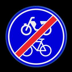 Verkeersbord Einde verplicht fiets / bromfietspad Verkeersbord RVV G12b - Einde verplicht fiets / bromfietspad G12b einde, fietsen, bromfietsen, brommer, G12, G12 b, einde verplicht fietspad en bromfietspad