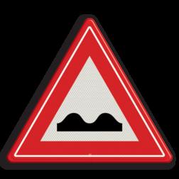 Verkeersbord Waarschuwing Slecht wegdek Verkeersbord RVV J01 - Vooraanduiding slecht wegdek J01 pas op, let op, hobbels in de weg, slechte weg, J1, kuilen in de weg, gaten in de weg, slecht wegdek, waarschuwingsbord