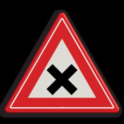 Verkeersbord gevaarlijk kruispunt Verkeersbord RVV J08 - Vooraanduiding gevaarlijk kruispunt J08 kruising, let op, pas op, gelijk waardige kruising, J8, kruispunt, kruisende wegen, waarschuwingsbord, gevaarlijk,