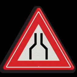 Verkeersbord Rijbaanversmalling aan beide zijden van de weg Verkeersbord RVV J17 - Vooraanduiding rijbaanversmalling aan 2 zijden J17 let op, pas op, versmalling, obstakel, vernauwing, J17, smalle weg, rijbaanversmalling, rijbaan, waarschuwingsbord