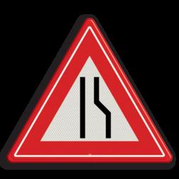 Product Rijbaanversmalling rechts / naar links uitwijken Verkeersteken RVV J18 - klasse 3 smalle weg, pas op, let op, J18, obstakel