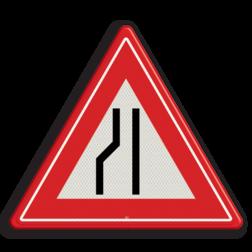 Verkeersbord Rijbaanversmalling links / naar rechts uitwijken. Verkeersbord RVV J19 - Vooraanduiding rijbaanversmalling links J19 let op, pas op, opstakel, J19, versmalling, rijbaanversmalling, wegversmalling, waarschuwingsbord