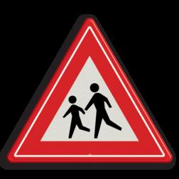 Verkeersbord Overstekende / spelende kinderen Verkeersbord RVV J21 - Vooraanduiding overstekende kinderen J21 let op, pas op, speldende kinderen, J21, overstekende kinderen, waarschuwingsbord