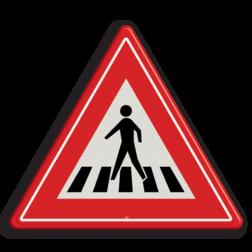 Verkeersbord Voetgangersoversteekplaats met een zebrapad Verkeersbord RVV J22 - Vooraanduiding voetgangers-oversteekplaats J22 let op, pas op, oversteken, oversteekplaats, zebrapad, voetganger, J22, oversteekplek, waarschuwingsbord