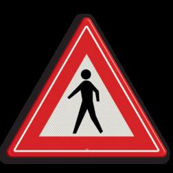 Verkeersbord U nadert een niet gemarkeerde voetgangers oversteekplaats Verkeersbord RVV J23 - Vooraanduiding voetgangers-oversteekplaats J23 let op, pas op, wandelaars, J23, voetgangers, waarschuwingsbord
