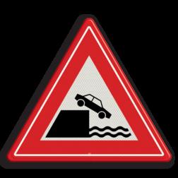 Verkeersbord Gevaarlijke kade of rivieroever Verkeersbord RVV J26 - Vooraanduiding kade of rivieroever J26 let op, pas op, waterkant, J26, kade, rivieroever, waarschuwingsbord