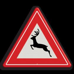 Verkeersbord Kans op overstekend groot wild Verkeersbord RVV J27 - Vooraanduiding groot wild J27 hert, overstekend wild, springend hert, driehoeksbord, gevaar, let op, pas op, dieren, J27, waarschuwingsbord
