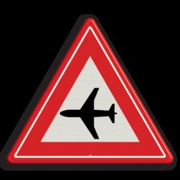 Verkeersbord Waarschuwing Laagvliegende vliegtuigen Verkeersbord RVV J30 - Vooraanduiding laagvliegende vliegtuigen J30 let op, pas op, vliegverkeer, vliegveld, J30, luchthaven, laagvliegende, vliegtuigen, waarschuwingsbord