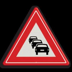 Verkeersbord Waarschuwing met kans op file Verkeersbord RVV J33 - Vooraanduiding file J33 filevorming, pas op, let op, filegevaar, J33, stil staand verkeer, stilstaand verkeer, waarschuwingsbord