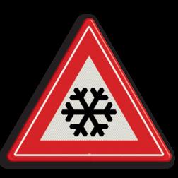 Verkeersbord Glad wegdek als gevolg van ijzel of sneeuw Verkeersbord RVV J36 - Vooraanduiding ijzel of sneeuw J36 glade, slechte, ijsvorming, ijzel, sneeuw, winters weer, winterse omstandigheden
