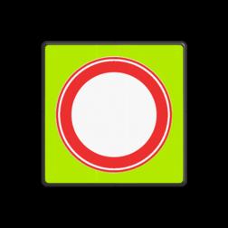 Verkeersbord Gesloten in beide richtingen voor voertuigen, ruiters en geleiders van rij- of trekdieren of vee Verkeersbord RVV C01f - Gesloten voor Alle verkeer - fluor achtergrond C01f Fluor geel-groen, C07, Onderbord OB108 - uitgezonderd bestemmingsverkeer, verbodsbord, verboden toegang, gesloten verklaring