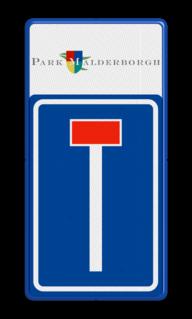 Routebord LET OP! Het getoonde bord is een voorbeeld, en kan NIET zo besteld worden. Hierop rust auteursrecht. U kunt uw eigen ontwerp aanleveren. Routebord Doodlopende weg L08 + logo/beeldmerk Wit / blauwe rand, (RAL 5017 - blauw), BEW201, Theater hangaar