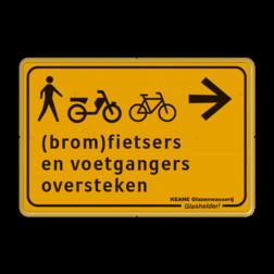 Omleidingsbord - (brom-)fietsers en voetgangers oversteken + logo