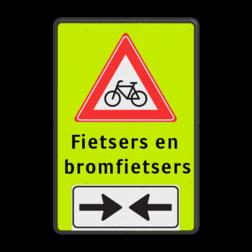 Verkeersbord RVV J24 LET OP! overstekende (brom-)fietsers Verkeersbord RVV J24 FLUOR + (brom)fiets 2 txt Tekstbord, gevaar, J24, bromfiets , fietsers, fietsen, bromfietsen, overstekende