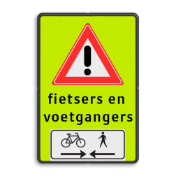 Verkeersbord RVV J37 FLUOR voetgangers + fiets 2 txt voetgangers, fietsers, wandelaars, overstekende