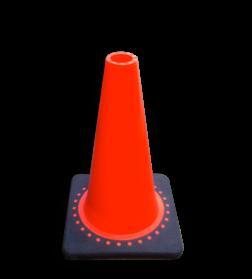 Verkeerspion 300mm oranje met verzwaarde voet van gerecycled kunststof pion, pionnen, kegels, pilon, oranje, hoedje, verkeer, kegel, afzet