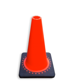 Verkeerspion 500mm oranje met verzwaarde voet van gerecycled kunststof pion, pionnen, kegels, pilon, oranje, hoedje, afzet, verkeer, kegel, pylon