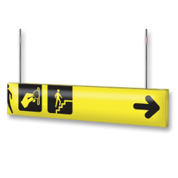 Verwijsbord VOETGANGERS RAL1023 800x150 + reflex | Route | t.b.v. draadeind 6mm