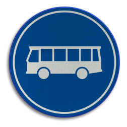 Verkeersbord ** NIEUW RVV - GELDIG vanaf 01-01-2017 ** Rijbaan of rijstrook uitsluitend ten behoeve van lijnbussen. Verkeersbord RVV F13 - Rijbaan of -strook bussen F13 nieuw, bus, lijnbus, autobus, rijbaan, rijstrook, busbaan, busstrook