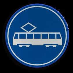 Verkeersbord ** NIEUW RVV - GELDIG vanaf 01-01-2017 ** Rijbaan of rijstrook uitsluitend ten behoeve van trams. Verkeersbord RVV F15 - Rijbaan of -strook tram F15 nieuw, tram, trams, trambaan, tramstrook, rijbaan, rijstrook