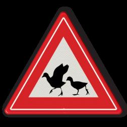 Informatiebord Overstekende eenden Informatiebord - waarschuwing  overstekende watervogels eend, kuiken, eenden, dier,