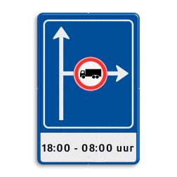 Verkeersbord RVV L10-02r + ondertekst L10, vooraanduiding, voorwaarschuwing, verkeersmaatregel, verkeersregel