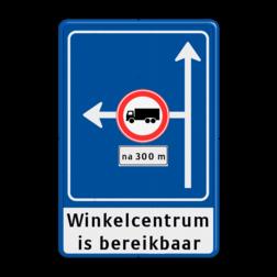 Verkeersbord Linksaf afgesloten voor vrachtverkeer Verkeersbord RVV L10-02l met ondertekst Vooraanduiding, voorwaarschuwing, verkeersregel, verboden voor vrachtwagens, l10,