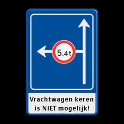 Verkeersbord Rechtsaf afgesloten voor vrachtverkeer Verkeersbord RVV L10-02l +ondertekst voorwaarschuwing, vooraanduiding, verkeersregel
