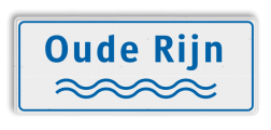 Rivieren naambord wit-blauw ijssel, maas, rijn, beek, water, golfjes, naambord, meer, water, rivier