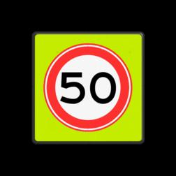Verkeersbord Maximum toegestane snelheid 50 kilometer per uur Verkeersbord RVV A01-050f - Maximum snelheid 50 km/h A01-050f snelhiedsbord, snelheidbord, 50 km bord, snelheid, zonebord, einde, 50 km per uur, A1, maximumsnelheid, maximum snelheid, maximalesnelheid, maximale snelheid