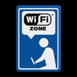 Informatiebord blauw/wit/zwart - Wifi-zone Wit / blauwe rand, (RAL 5017 - blauw), wifi, wi fi, zone social media verkeersbord, Zeeuws Vlaanderen