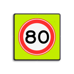 Verkeersbord Maximum toegestane snelheid 80 kilometer per uur Verkeersbord RVV A01-080f - Maximum snelheid 80 km/h A01-080f snelhiedsbord, snelheidbord, 80 km bord, snelheid, zonebord, einde, 50 km per uur, A1, maximumsnelheid, maximum snelheid, maximalesnelheid, maximale snelheid