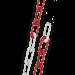 Ketting verzinkt STAAL 6mm in rood/wit | 10 meter lang kettingpaal, parkeerpaal, sperringspaal, versperring, parkeerterrein, stalen afzetketting, afzetketting