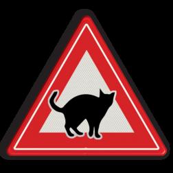 Informatiebord Overstekende poezen/katten Informatiebord overstekende katten poes, kat, dieren