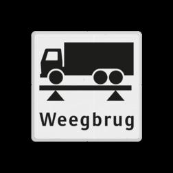 Verkeersbord Onderbord - gelegenheid om vrachtwagen te wegen op de weegbrug Verkeersbord RVV OBD08 Onderbord - weegbrug OBD08