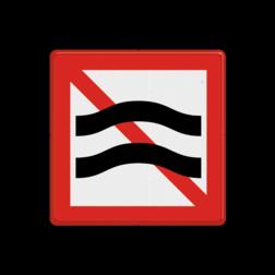 Scheepvaartbord Verboden hinderlijke waterbeweging te veroorzaken. Het teken wordt toegepast op plaatsen, waar het voor de vaarweggebruiker niet duidelijk is, dat hinder als bedoeld in art. 6.20 BPR te verwachten is bij ongewijzigde vaarsnelheid. Plaatsing vindt vooral toepassing bij werken in uitvoering zoals brugbouw, werkzaamheden aan de oevers, maar ook voor bij bunkerstations of scheepswerven gemeerde schepen. Voor deze toepassing verdient A.9 voorkeur boven B.6. Scheepvaartbord BPR A. 9 - Verboden hinderlijke waterbeweging te veroorzaken A. 9 A9, water, golfslag, BPR, verbodstekens, verbodsborden, waterweg, waterwegen, scheepvaarttekens, verkeerstekens, waterbeweging