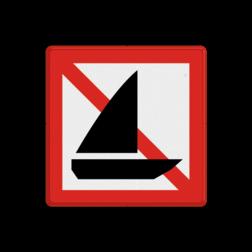 Scheepvaartbord Verboden voor zeilschepen. Het teken vindt toepassing bij grote doorgaande vaarwegen waarop, naast de beroepsvaart veel recreatievaart plaatsvindt, bijvoorbeeld het Prinses Margrietkanaal. Scheepvaartbord BPR A.15 - Verboden voor zeilschepen A.15 zeilboten, water, A.15, BPR, zeilen, verbodstekens, verbodsborden, waterweg, waterwegen, scheepvaarttekens, verkeerstekens,