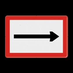Scheepvaartbord Verplichting te varen in de richting aangegeven door de pijl. De pijl kan zowel horizontaal als verticaal staan. Scheepvaartbord BPR B. 1 - Verplicht te varen in de richting aangegeven door de pijl B. 1 water, B1, gebodstekens, gebodsborden, waterweg, waterwegen, scheepvaarttekens, verkeerstekens, vaarrichting