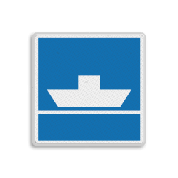 Scheepvaartbord Niet vrijvarende veerpont. Het teken dient als waarschuwing voor een niet vrijvarend, dat wil zeggen aan een kabel bevestigde veerpont en kan worden voorzien van een bovenbord, waarop de afstand is vermeld tussen het bord en de oversteekplaats van de veerpont. Bovenstrooms van de pont wordt bij voorkeur een grotere afstand aangehouden tussen het bord en de pont dan benedenstrooms. Dit in verband met het verschil in naderingssnelheid van de schepen. Voor brede vaarwegen is plaatsing op beide oevers aan te bevelen. Scheepvaartbord BPR E. 4a - Niet vrijvarende veerpont E. 4a pond, pont, oversteek, schip, water, E4a, aanwijzingstekens, aanwijzingsborden, waterweg, waterwegen, scheepvaarttekens, verkeerstekens,