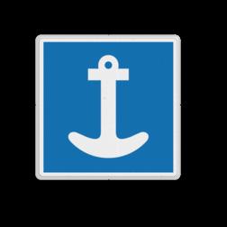 Scheepvaartbord Toestemming te ankeren geldt aan de zijde van de vaarweg waar het bord is geplaatst voor alle categorieën schepen. Spudpalen zijn gelijk gesteld met ankeren. Scheepvaartbord BPR E. 6 - Toestemming te ankeren E. 6 anker, schip, aanleggen, water, E6,  aanmeren, aanwijzingstekens, aanwijzingsborden, waterweg, waterwegen, scheepvaarttekens, verkeerstekens,