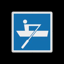 Scheepvaartbord Door spierkracht voortbewogen schepen toegestaan. Teken E.19 wordt vooral gebruikt om het einde van een met teken A.16 ingesteld verbod aan te geven. Scheepvaartbord BPR E.19 - Door spierkracht voortbewogen schepen toegestaan E.19 schip, pleziervaart, watersport, zeilen, water, E19, aanwijzingstekens, aanwijzingsborden, waterweg, waterwegen, scheepvaarttekens, verkeerstekens,
